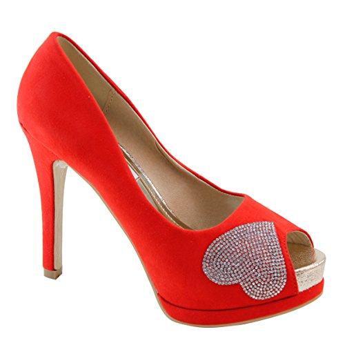 Nuevo Brieten Mujer's Rhinestone Heart Peep Toe Plataforma Bombas De Tacón Alto Rojo