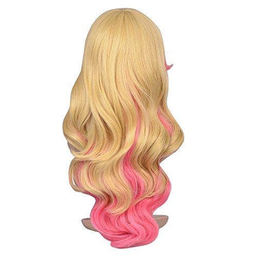63cm Long Zipper Beige+pink Wavy Cosplay Hair Wig