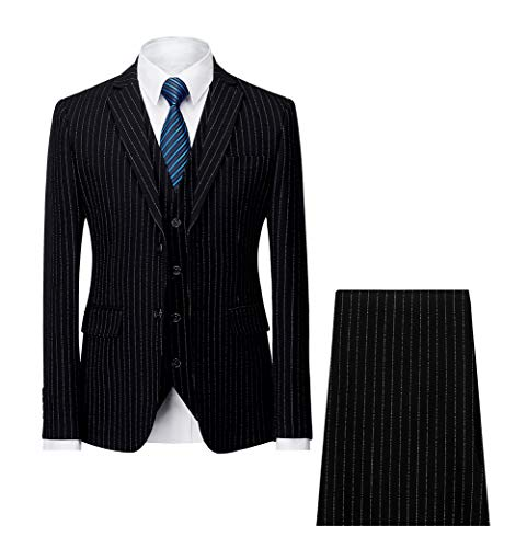 - MAGE MALE Men's Pinstripe Suit Slim Fit 3 Piece Two-Button Business Wedding Party Blazer Vest& Pants Sets
