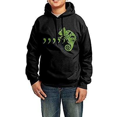 GGDD Boys & Girls Cool Green Chameleon Leisure Cool Hoodie Sweatshirt Casual Style Black