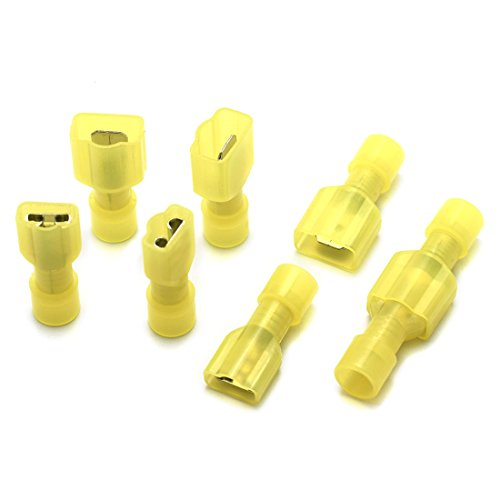 DZS Elec 30 Sets A.W.G. 12-10 24A Fully Insulated Wire Connector Quick Disconnects Electrical Wiring Female and Male Spade Nylon Wire Crimp Terminal 6 Nylon Spade Terminals