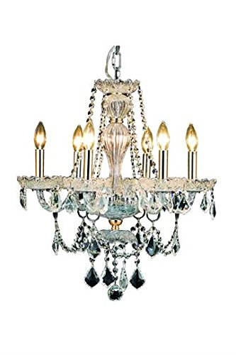 Portier Gold Traditional 6-Light Hanging Chandelier Heirloom Handcut Crystal in Crystal (Clear)-6712D21G-RC--28
