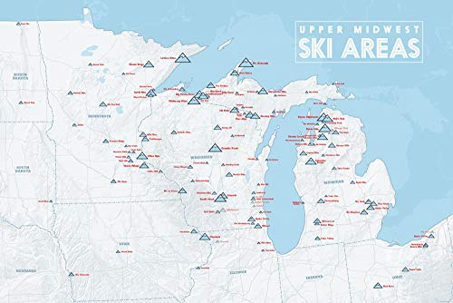 Upper Midwest Ski Resorts Map 24x36 Poster (White & Light Blue) (Best Midwest Ski Resorts)