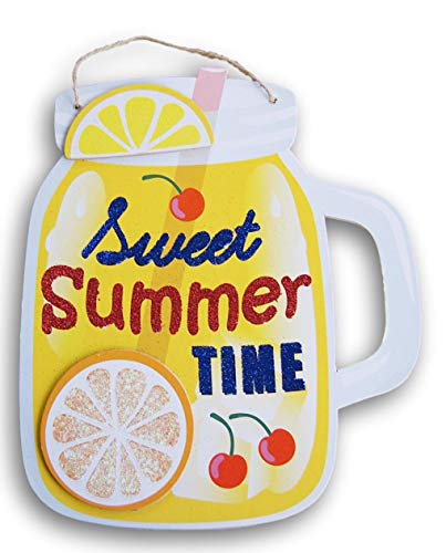 Glittering Mason Jar Cherry Lemonade Summer Sign - ''Sweet Summer Time'' - 9.75 x 11.25 Inches