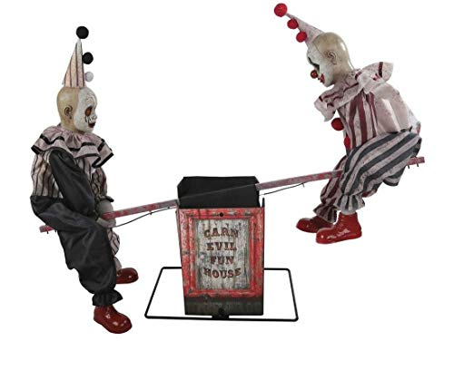 See Saw Clowns Animated Prop Clown Seesaw Halloween Haunted Decoration Carnival]()
