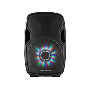"Sound Town 15"" 2-Way Portable PA Speaker with Built-in Rechargeable Battery, 2 Wireless Mics (Öpik-15PS)"
