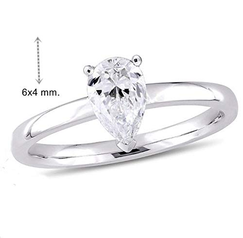 GIA Certified 0.44 Carat Pear Shape Natural 14K White Gold Diamond Wedding Ring