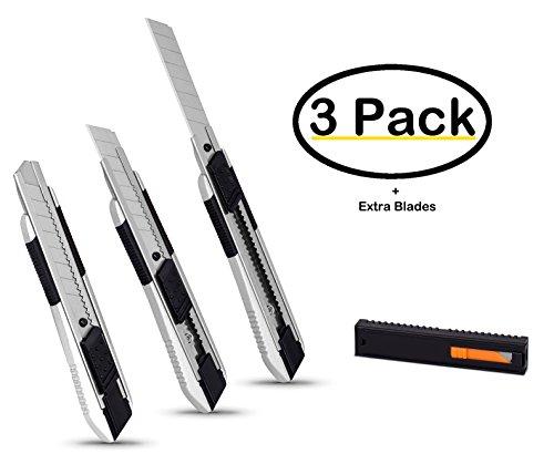 Internet's Best Snap-Off Utility Knife | Regular | Set of 3 | Belt Clip | Retractable Razor Knife Set | Box Cutter Locking Razor Knife