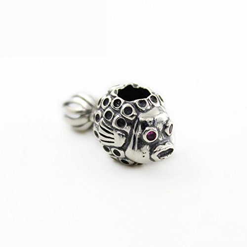 Sterling Silver Fish Beads - Beauty Charm 925 Sterling Silver Fish Bead Crystal Christmas Pendant for Lady and Girl Gift Fit Necklace and Bracelet