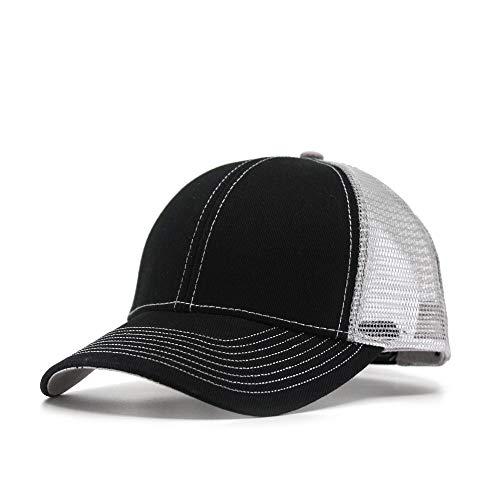 2 Tone Velcro Closure Cap - Vintage Year Plain Cotton Twill Mesh Adjustable Trucker Baseball Cap (Black/Black/Gray)