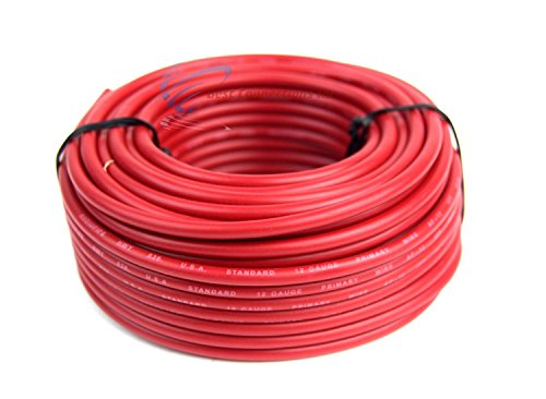 12 GA Gauge 50' Feet Red Audiopipe Car Audio Home Remote Primary Cable Wire - 12 Gauge Audio