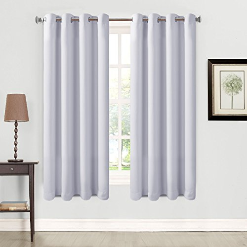 Balichun 2 Panles Blackout Curtains Thermal Insulated Grommets Drapes for Bedroom/ Living Room 52 by 63 Inch Grayish White