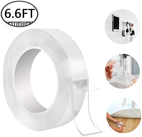 Washable Adhesive Tape, Hompie 6.6FT Traceless Reusable Clear Double Sided Anti-Slip Nano Gel Pads,Removable Sticky Transparent Strips Grip for Glass, Metal, Kitchen Cabinets or Tile-2m