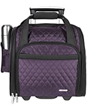 Travelon Luggage Wheeled Underseat Carry-on with Back-up Bag in Quilted Microfiber, Eggplant