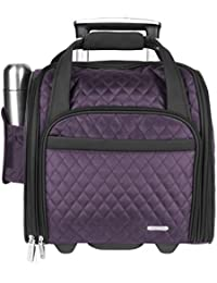 Luggage Wheeled Underseat Carry-on with Back-up Bag in Quilted Microfiber, Eggplant