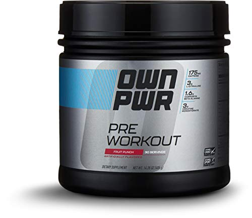 OWN PWR Pre Workout Powder, Fruit Punch, 30 Servings, with 3g Creatine, 1.6g Beta Alanine (as CarnoSyn), 175mg Caffeine & more