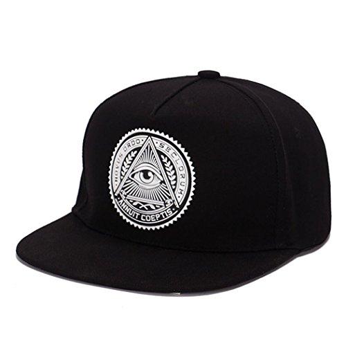 King Star Men Solid Flat Bill Hip Hop Snapback Baseball Cap Eye-Black