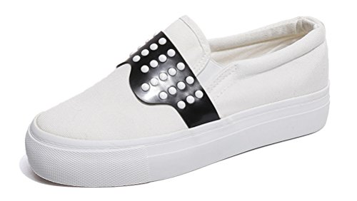 Pedal Flat Casual RESPEEDIME Leather Shoes Walking Shoes Canvas Women's White Comfort wqwaBY