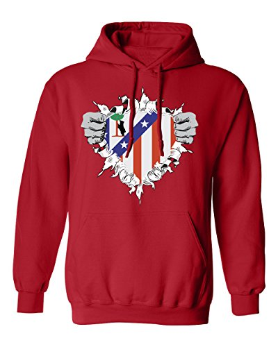 fan products of SMARTZONE Club Atletico de Madrid Super Hero Logo Soccer Football Futbol Men's Hoodie Sweatshirt (Red,L)