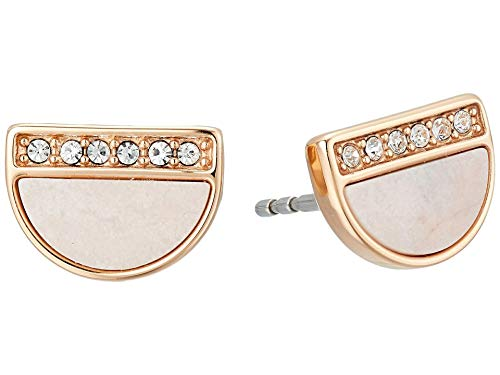 Fossil Women's Pink Mother-of-Pearl Stud Earrings Rose Gold One Size