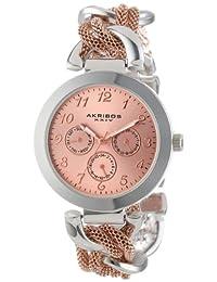 Akribos XXIV Women's AK564TTR Multi-Function Mesh Link Bracelet Watch