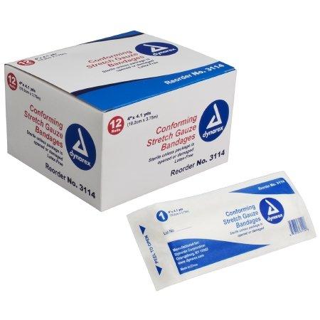 Dynarex Stretch Gauze Bandages, Sterile, 4