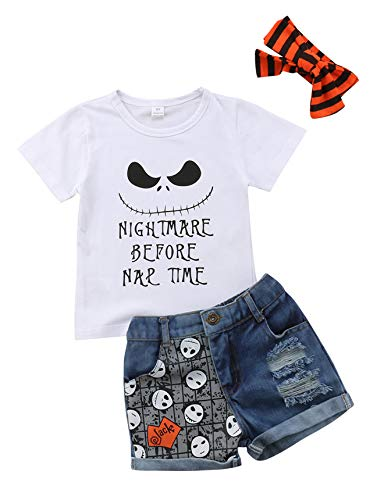 Urkutoba Halloween Short Pants Outfit Skull Smile Nap Time T-Shirt+Skull Print Ripped Distressed Denim Short Jeans +Headband (White, 2-3T)