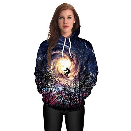 iYBUIA Halloween Unisex Casual Hooded Print Pockets Pullover Hoodie Sweatshirt Pullover Tops(Navy,L)