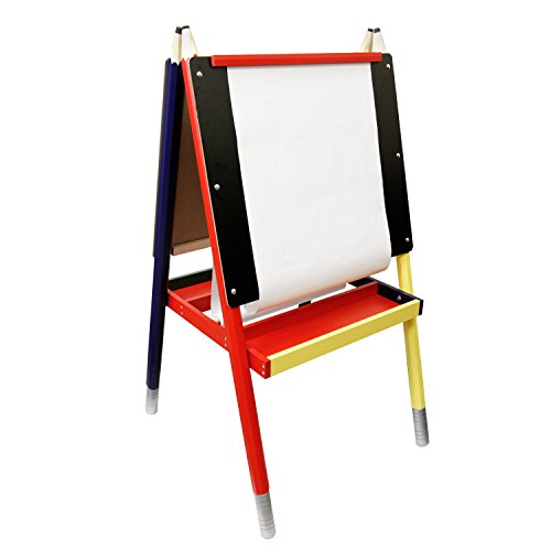 US Art Supply Zuma Children's Paint and Drawing Child Artist Easel with Chalkboard, Dry Erase Board, Large Trays, and Paper Roll
