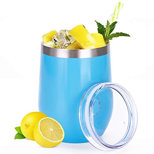 SULIVES 12 oz Stainless Steel Stemless Wine Glass Tumbler with BPA Free Lid, Double Wall Vacuum Insulated Unbreakable Travel Tumbler Cup with Powder Coated for Coffee, Wine, Cocktails - Blue