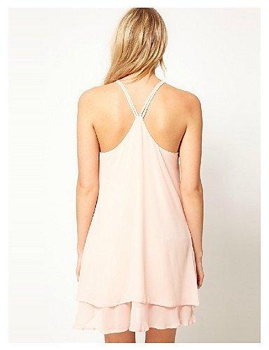PU&PU Robe Aux femmes Trapèze Street Chic,Couleur Pleine Col en V Mi-long Polyester , pink-2xl , pink-2xl