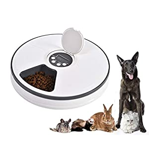 Mingzheng Automatic Food and Water Feeder Set with Slicker Brush with Digital Timer for Cat Small Dogs Pet Solution,Easy Disassemble/Clean/Assemble/Fill