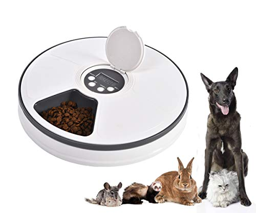 Mingzheng Automatic Pet Feeder with Timer for Cats & Dogs, Suits Dry or SEMI Food for Kitten & Puppy, Portion Control, Dishwasher-Safe 2oz x -