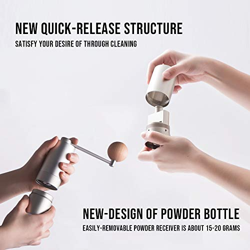 1Zpresso MINI Manual Coffee Grinder Q Series, Easy disassembly for cleaning, Small Lightweight, 15~20g Capacity, Platinum Gray by 1ZPresso (Image #4)