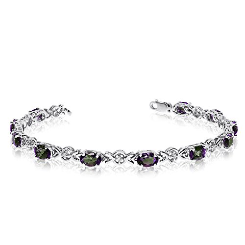 10K White Gold Oval Mystic Topaz and Diamond Bracelet