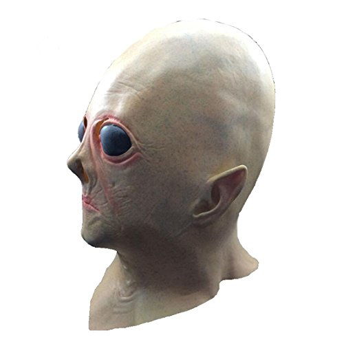 Doncielo Realistic UFO Alien Head Mask Latex Creepy Costume Party Cosplay (Alien Child Mask)