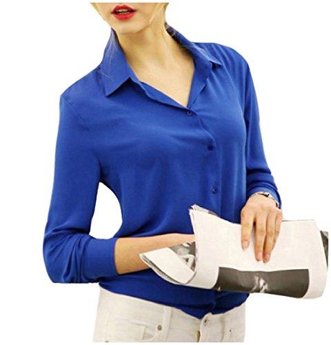 xiaokong Women's Long Sleeve Turn-down Collar Solid Colored T-Shirt Blue M