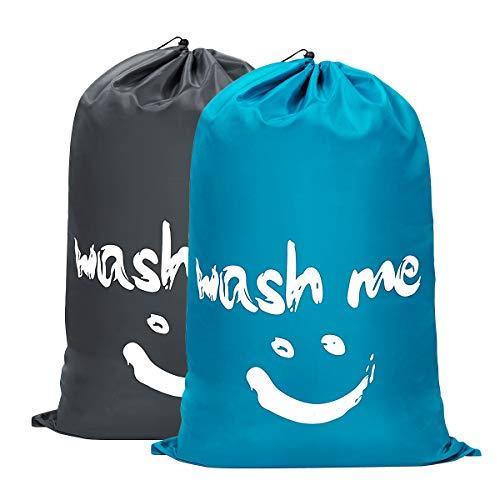 WOWLIVE 2 Pack Extra Large Travel Nylon Laundry Bag Set Storage Sturdy Rip-Stop Machine Washable Locking Drawstring Closure Heavy Duty Bag Hamper Liner 24x36 (Blue and Grey)