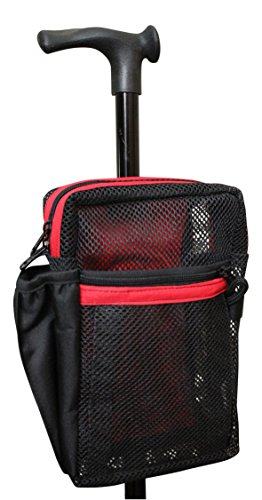 Cane Buddy - Secure Pouch for Cane, Walker, Crutches and Wheel Chairs (Red)