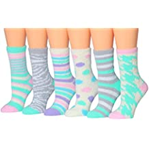 Tipi Toe Women's 6-Pairs Patterned & Solid Anti-Skid Soft Fuzzy Crew Socks