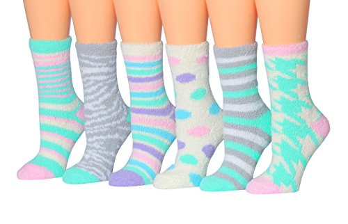Fuzzy Socks Dot (Tipi Toe Women's 6-Pairs Pastel Colors Anti-Skid Soft Fuzzy Crew Socks, (sock size 9-11) Fits shoe size 6-9, FZ09)
