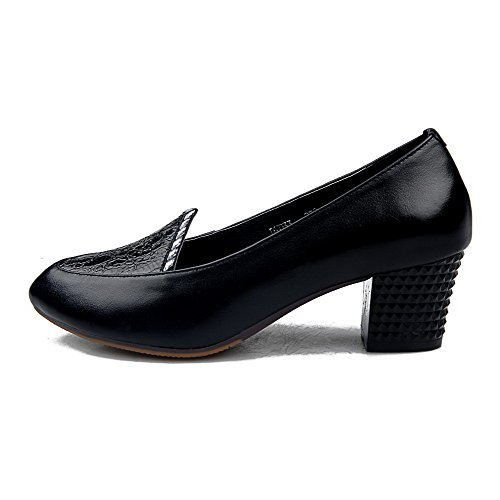 AllhqFashion Womens Closed Pointed Toe Cow Leather Kitten Heels Solid Pumps with Crack Pattern Black lIKecXRd