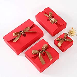20Pcs/Lot Kraft Paper Boxes With Ribbon White Black Red Candy Bag Wedding Gift Box Package Birthday Party Decoration Bags,Red,14x14x5cm