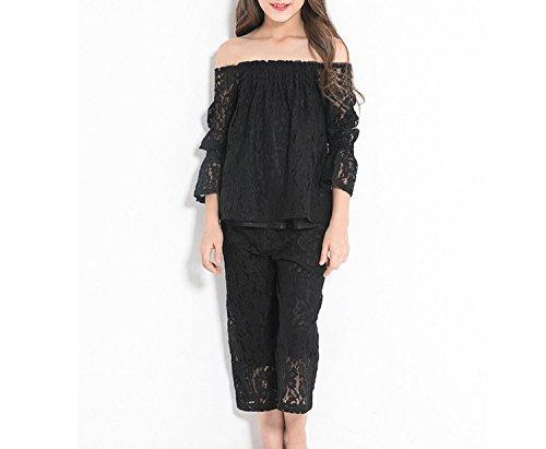 Zcaosma Teenage Girls Lace Sets Off The Shoulder Shirts Big Leg Pants Two-Piece,Black,8 by Zcaosma