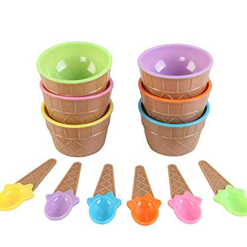 Set of 6 Cartoon Candy Vibrant Colors ,Frozen Yogurt Cups,Festive Dessert Bowls,Ice Cream Dessert Bowls and Spoons ()