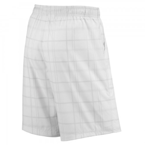 Wilson Boys' Rush Plaid 8'' Short, White-MD - 10/12