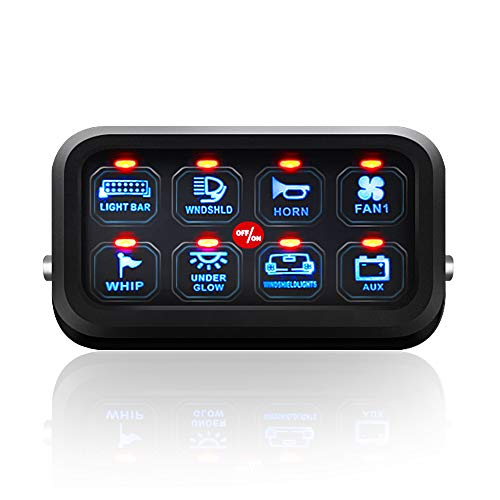 Gang Sticker - Auxbeam 8 Gang LED Switch Panel Slim Touch Control Panel Box with Harness and Label Stickers for Car Marine Boat Caravan