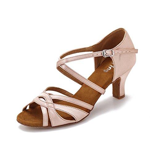 YYTing Women Ballroom Dance Shoes Latin Salsa Bachata Performance Dancing Shoes(5.5, Nude)