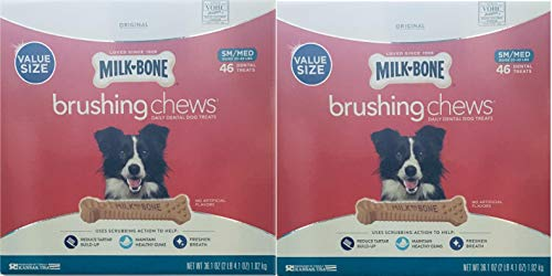 Milk-Bone Brushing Chews (Small/Medium) Value Pack of Two Boxes, Total of 92 Dental Treats 72.2 Oz