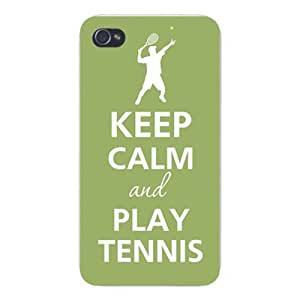 Apple Iphone Custom Case 4 4s White Plastic Snap on - Keep Calm and Play Tennis Player Serving